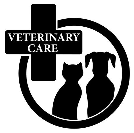 medical isolated black icon with veterinary care symbol Vector
