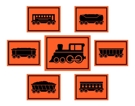 means of transport: isolated set red rail road icons with train silhouette and coach collection Illustration