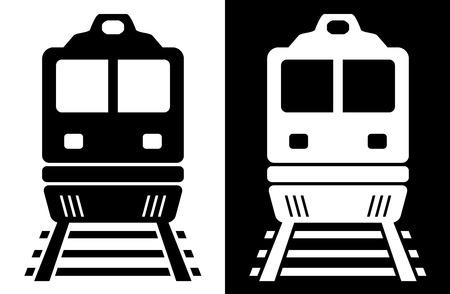 establecer dos icono con tren aislado en blanco y negro