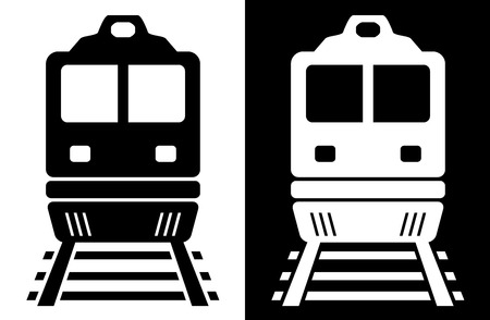 set two icon with black and white isolated train Ilustração