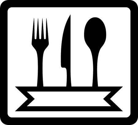 black icon with utensils for restaurant foods Vector