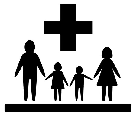 black family: black isolated medical symbol with family silhouette