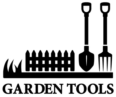 lawnmower: isolated black gardening symbol with tools silhouette