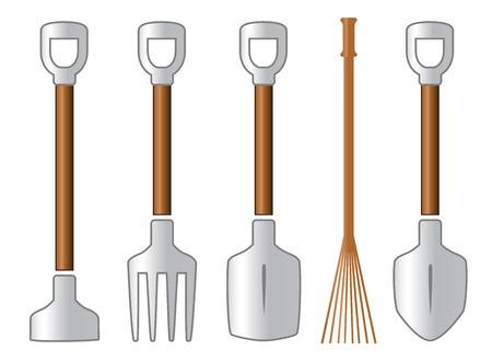 unused: color gardening isolated tools set on white background