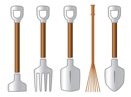 color gardening isolated tools set on white background