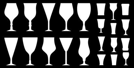 wine trade: white isolated alcohol glasses set on black background