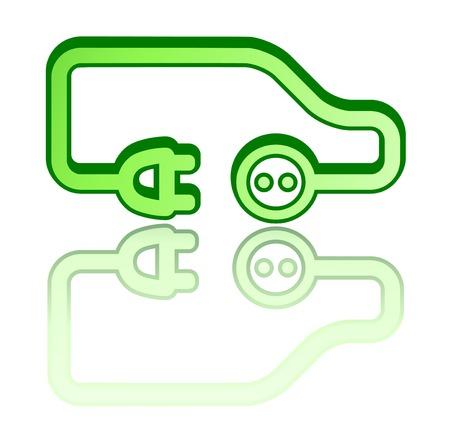 reflejo en espejo: del coche del veh�culo el�ctrico verde con reflejo en el espejo