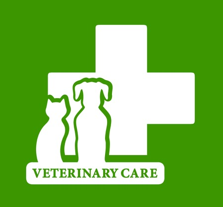 isolated green veterinary care icon with dog and cat silhouette Vector