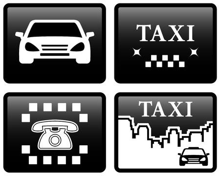 black cab: set isolated four black taxi cab icons