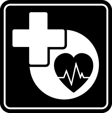 infirmary: black health care isolated icon with heart and medical cross Illustration