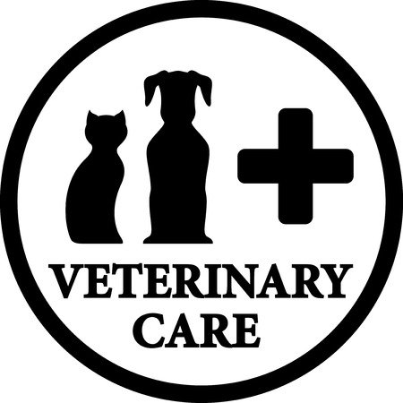 black round isolated veterinary medicine icon with dog and cat Vector