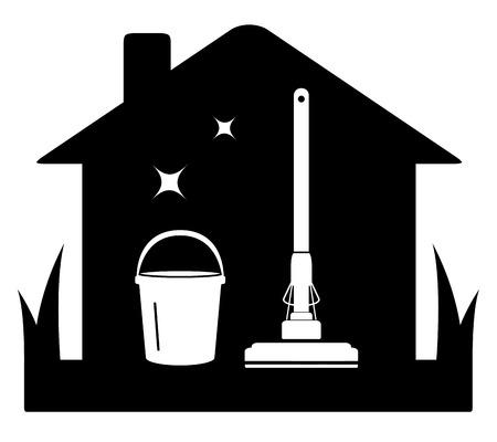 reinigen van zwarte geïsoleerde pictogram met gereedschap en huis silhouet Stock Illustratie