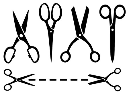 many isolated black scissors set on white background Vector