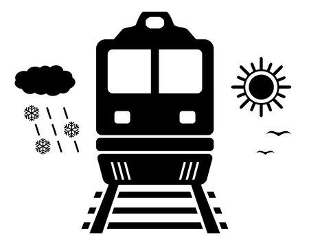 any weather travel on black train - isolated symbol Vector