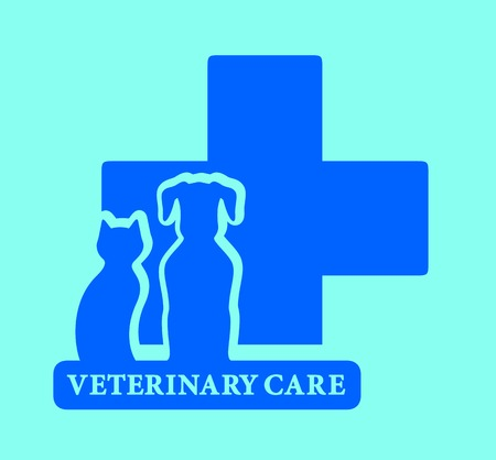 isolated veterinary care icon on blue background Vector