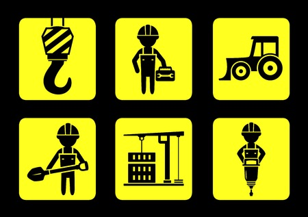 builder symbol: set isolated yellow construction icon on flat design style Illustration