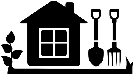 farm home: black isolated symbol gardening tools icon with garden house