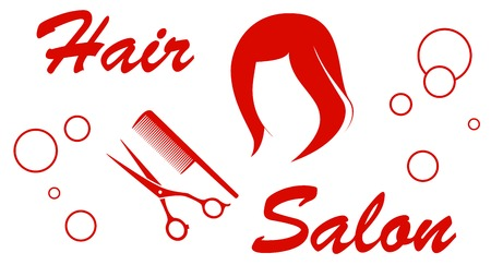 hair dresser: isolated icon with hair salon red symbol Illustration