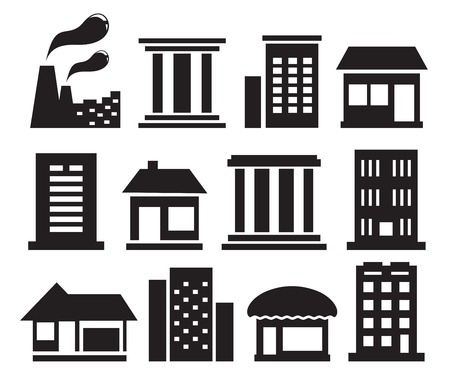 apartment suite: set of isolated urban building icons on white background