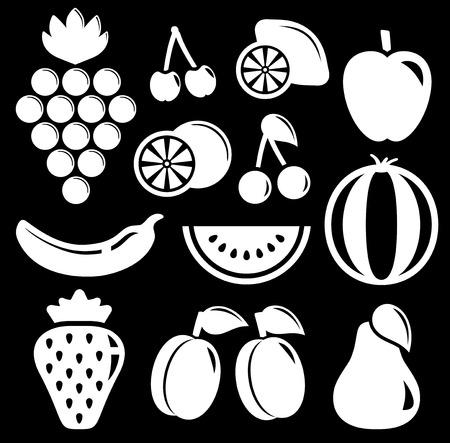 regime: set white fruit silhouette on black background