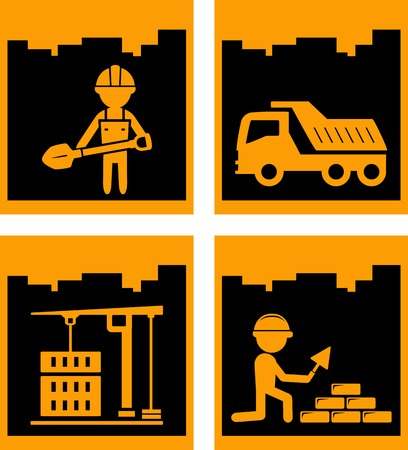 tipper: set four yellow urban building industrial icons