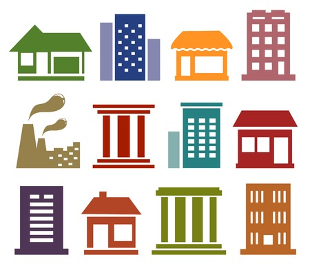 apartment suite: colorful isolated icons with urban architecture silhouette Illustration