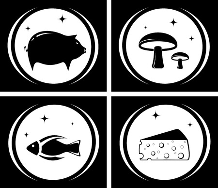 icebox: isolated food black icons set - icebox symbol