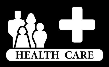 infirmary: health care icon with family and medical cross siolhouette Illustration