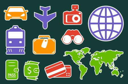 locomotion: set isolated colorful icons on flat design style for travel industry
