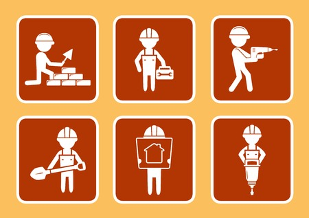set brown construction icons with builders man silhouette