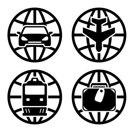 travel industry: set black transport icons for travel industry