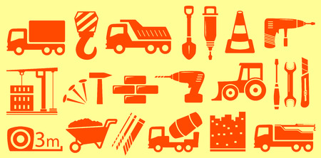 agrimotor: construction equipment set with yellow isolated objects Illustration