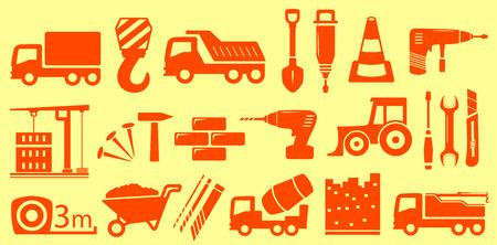 mat�riel chantier: mat�riel de construction sertie jaune objets isol�s Illustration