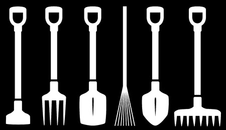 garden tools white set on black background Vector