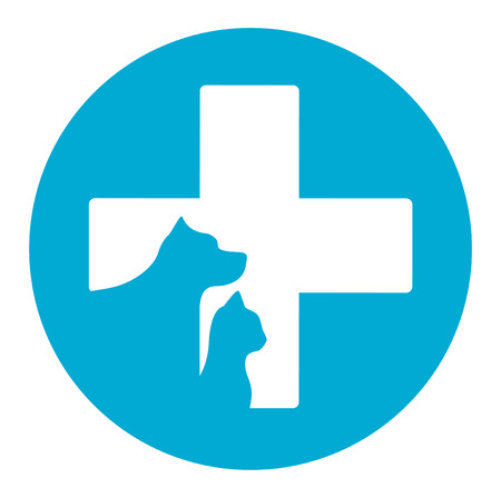 logo medicina: icono azul de la medicina veterinaria con mascota ayuda veterinaria Vectores