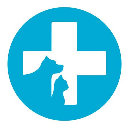 icono azul de la medicina veterinaria con mascota ayuda veterinaria