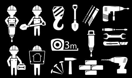 meter box: set isolated white construction industry objects on black background