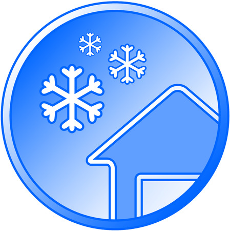 round blue winter icon with snow and house silhouette Vector