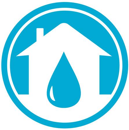 fontaneria: caer en la silueta blanca del hogar, icono el agua