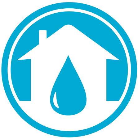 drink tools: drop on white home silhouette, water icon