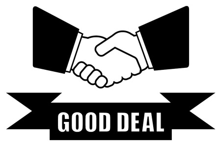 credit union: isolated black icon with good deal handshake silhouette