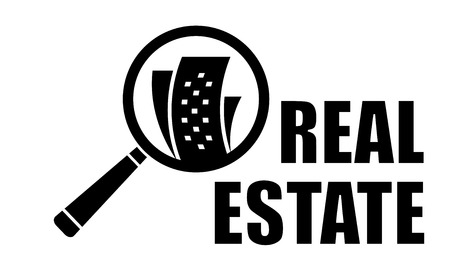 repurchase: black real estate icon with magnifier lens silhouette