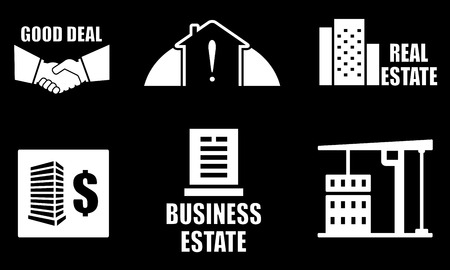 white objects on black background with real estate industry icons set Illustration