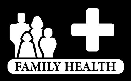 infirmary: black family health icon with people silhouette Illustration