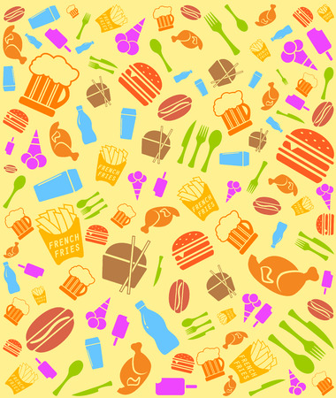 colorful fast food seamless bakground with meal objects set