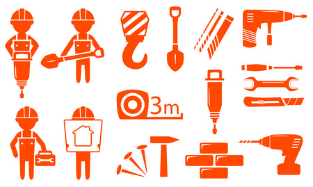 puncher: construction industry set with builder and industrial equipment Illustration