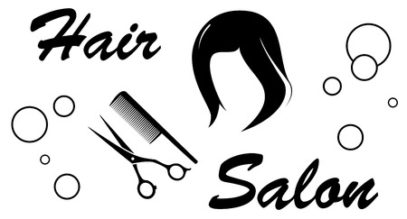 black wigs: black hair salon sign with barber objects on white background Illustration