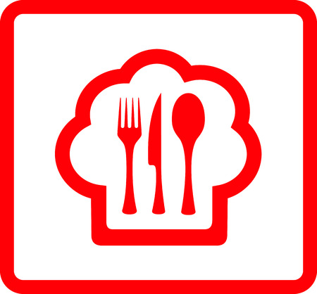 red isolated icon for restaurant food symbol Vector