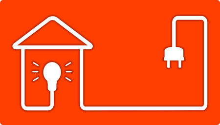 electrical wires: background for home lighting with electrical bulb and house silhouette