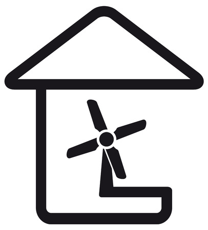 aeration: black symbol in line style with fan in home silhouette Illustration